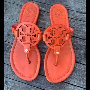 Tory Burch 7.5 Miller poppy red orange sandals
